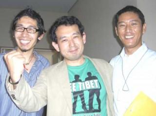 2009年東京にて:左からテンドル、我輩の記録係、SFT日本の代表であるツェリン・ドルジェ