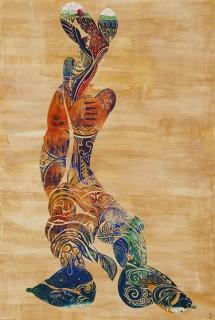 『クモニンゲン 雲彩人類』1999年ごろに製作したリトグラフを2010年に切り絵として製作(今日美術館収蔵)