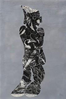 『クモニンゲン 雲彩人類』1999年ごろに製作したリトグラフを2010年に切り絵として製作(作家蔵)