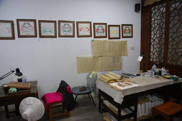 桃花塢年画博物館内のアトリエの風景