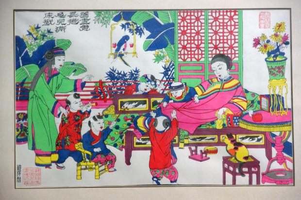 都市の生活を描いた桃花塢の年画