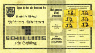 1シリング紙幣。毎月額面の1%のスタンプを買って貼る必要があった。