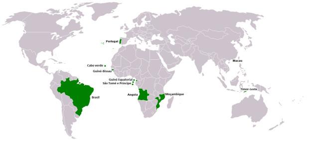 ポルトガル語が公用語の国・地域(赤道ギニアとマカオは、スペイン語や広東語のほうがメイン)