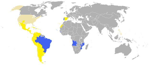 世界のスペイン語圏(黄色)とポルトガル語圏(青)