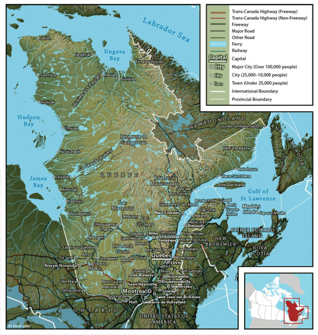 ケベック州の地図