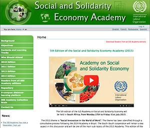 社会的連帯経済における南南交流の場としても機能している、国際労働機関(ILO)の社会的連帯経済アカデミーのサイト
