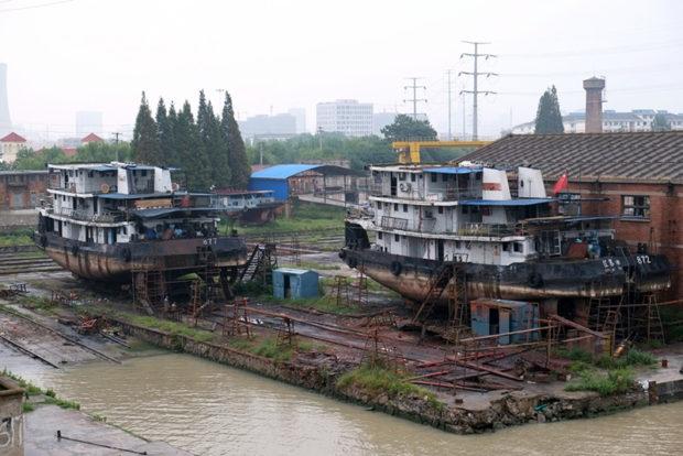 水の街淮安の大運河沿いには修船所(ドック)がある