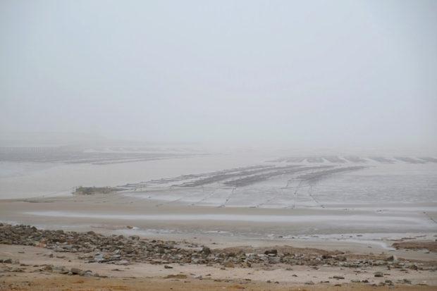 入海直前の廃黄河。堤防をくぐれば、そこはもう大海原である