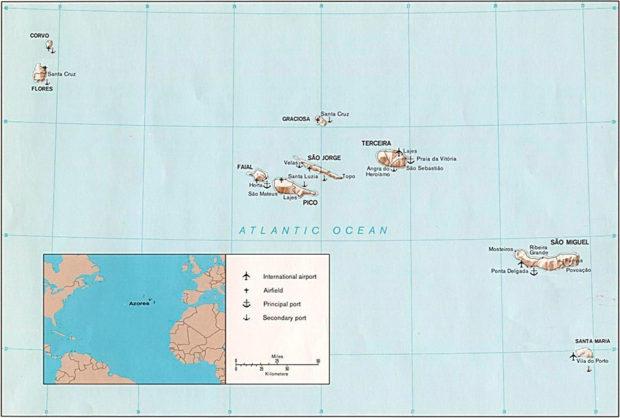 アゾレス諸島の地図