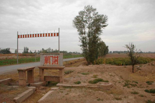 長城県岸門村。武威市街から車で1時間ほどの農村。とうもろこし畑のなかを土長城が走っている