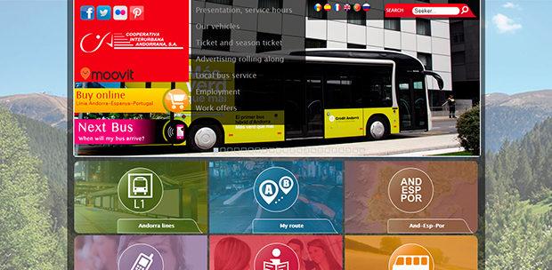 ミニ国家アンドラの国内バス路線を担当する協同組合のサイト