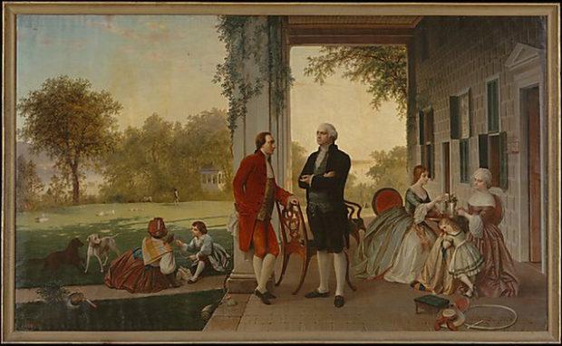 マウント・バーモンの邸宅で茶を楽しむジョージ・ワシントン(中央右、メトロポリタン美術館)