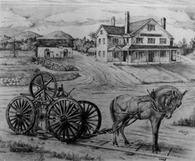 御影石の貨車を引くグラナイト鉄道のイラスト画 (Thomas Crane Public Library)