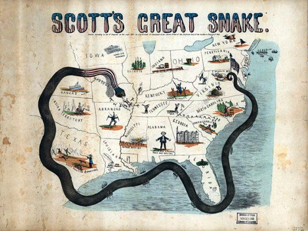 南部を経済封鎖したアナコンダ作戦のイラスト(Library of Congress)