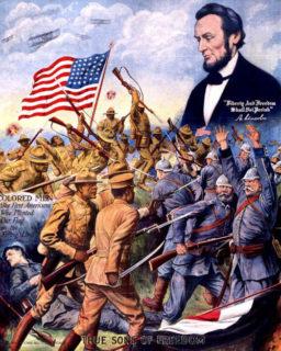 ドイツ兵と戦う黒人兵士を讃える絵画。星条旗とリンカーンも描かれている(The library of Congress)