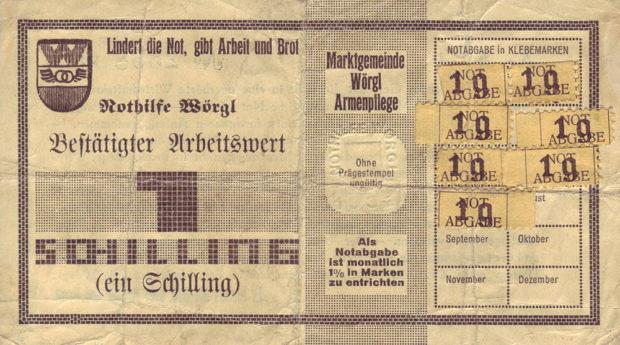 オーストリアのヴェルグルで1932年から1933年にかけて流通した減価する地域通貨。当時は毎月紙幣の右側にスタンプを貼って、紙幣の有効性を更新する必要があった。