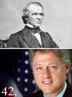 弾劾訴追された第17代大統領アンドリユー・ジョンソン(National Archive)と第42代大統領ビル・クリントン(The White House)