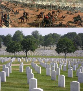 ケティスバーグの戦い(history.com)と墓標が整然と並ぶゲティスバーグ国立墓地(everipedia.com)