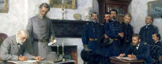 降伏文書に署名するリーと座って見守るグラント(絵画、The American Battle Field Trust)