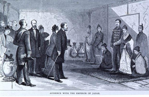 明治天皇を表敬訪問するグラント夫妻(絵画、Yale Archives)