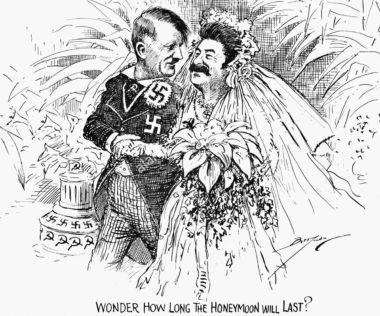 「ハネムーンはいつまで続くのか」と独ソ不可侵条約を皮肉る漫画(Reddit)