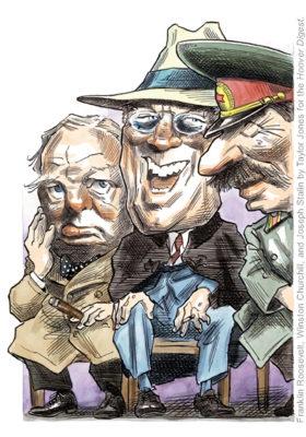 風刺漫画家テイラー・ジョーンズが「フーバー・ダイジェスト」誌のために描いたヤルタ会談の漫画(2004年10月30日)