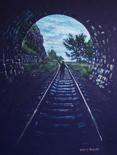 バイカル湖岸鉄道をテーマにしたスラバカロッテの作品「Dance」(2020年)。モノタイプという手法の一点もの版画