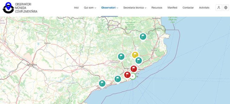 カタルーニャ補完通貨観察局が作成した州内の地域通貨マップ
