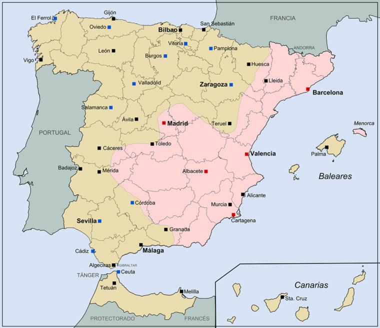 1937年10月(内戦開始後1年4か月)時点でのスペインの勢力地図(出典: ウィキペディア)。ピンクの部分が共和国側の支配地域で、ベージュ色がフランコ反乱軍の支配地域。