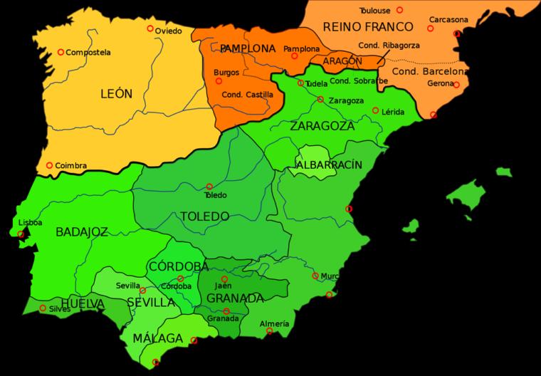 1030年頃のイベリア半島。緑はイスラム系諸国(出典:ウィキペディア)