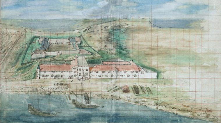 1635年に描かれたゼーランディア城と手前の長官官邸(ハーグ国立文書館所蔵)