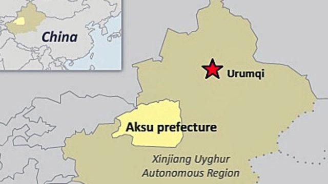 アクス地区を示す地図 (ラジオ・フリー・アジアの記事より転載)