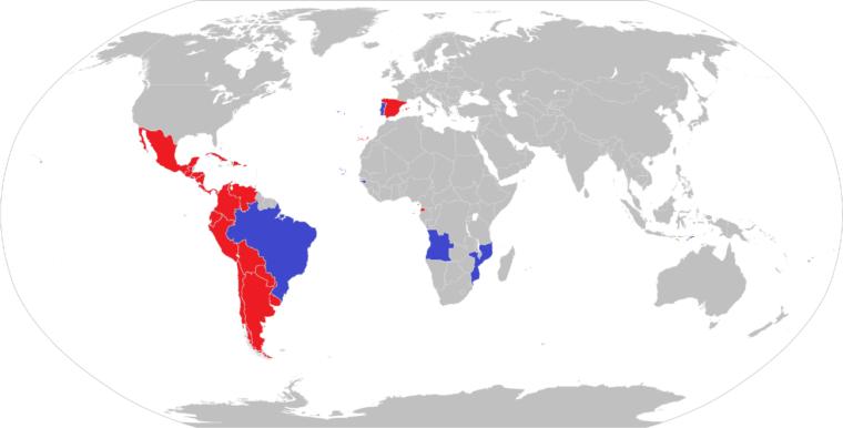 スペイン語圏(赤)とポルトガル語圏(青)- 出典: Wikipediaのテンプレートをもとに筆者作成