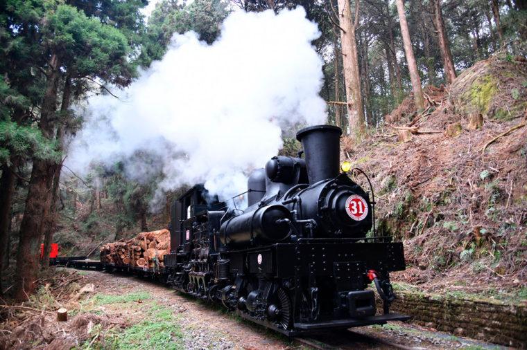 蒸気機関車による木材運搬の復元走行(行政院農業委員会林務局)