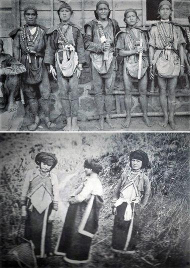 1900年代初期のツォウ族の男子と女子(番族慣習調査報告書第四巻鄒族より転写)