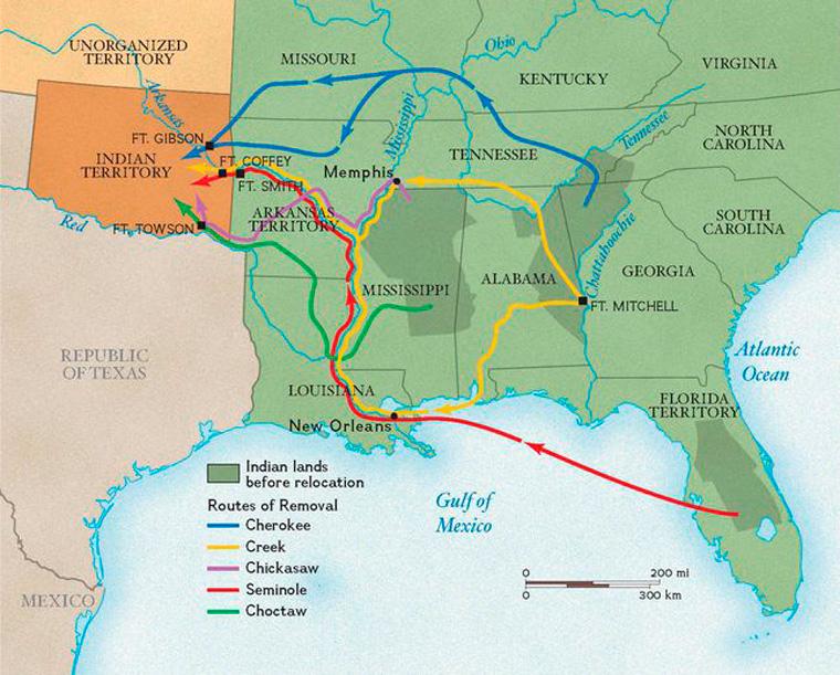 南東部のインディアンが追放されたルート。濃い緑部分がネーション(The National Geogrphic)