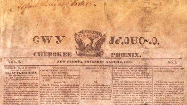 インディアン初の新聞チェロキー・フェニックスの1828年3月6日の一面(The Encyclopaedia Britannica)