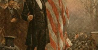 就任演説を前にフィラデルフィアで国旗を掲げるリンカーン(U.S. Congress Library)